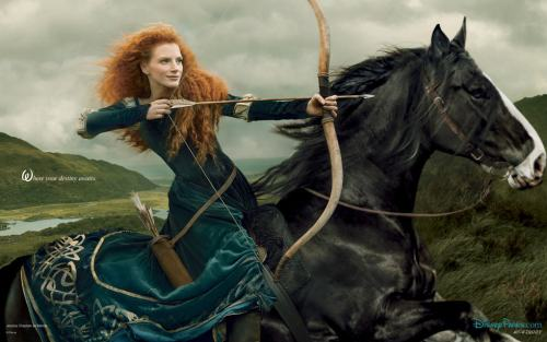 Jessica Chastain as Merida from Pixar's Brave