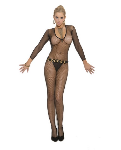 Long Sleeve Open Crotch Bodystocking