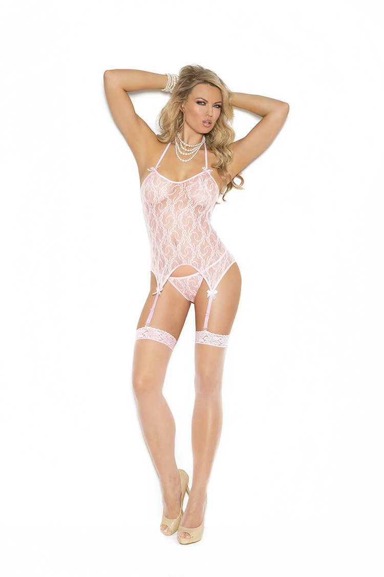 Pink Lace Camisette, G-String & Stockings