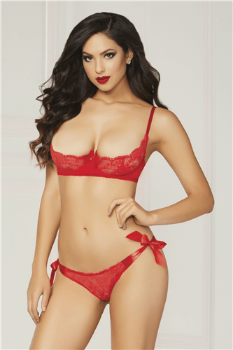 Red Open Bust & Open Crotch 2pc
