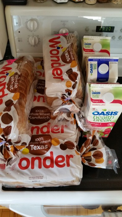 6 loaves of bread and 3 cartons of juice for $1 out of pocket!