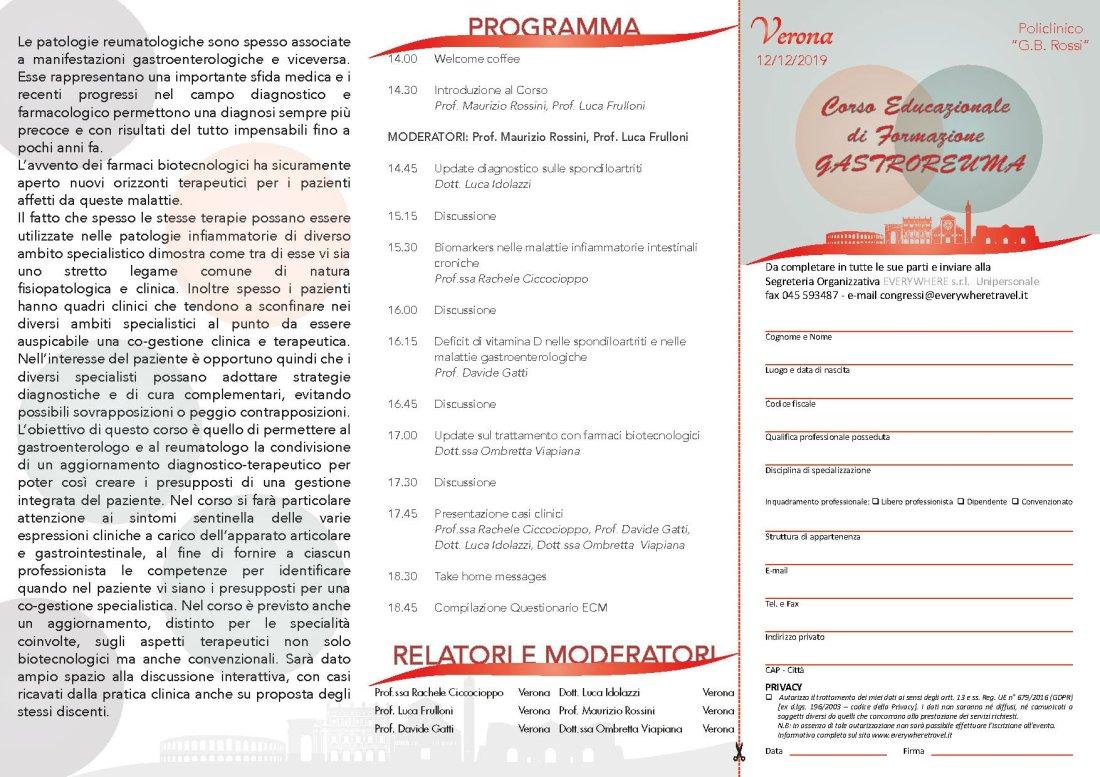Corso Educazionale di Formazione GASTROREUMA 2019