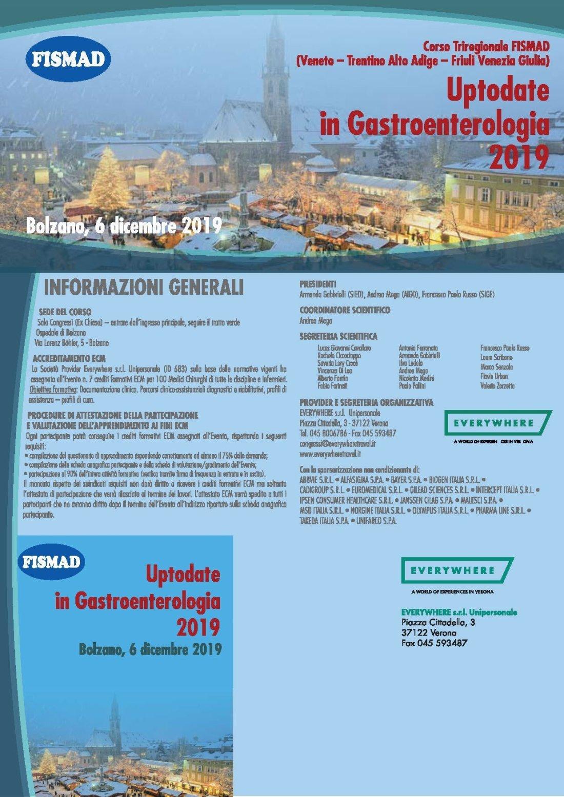 Corso Triregionale FISMAD (Veneto – Trentino Alto Adige – Friuli Venezia Giulia) Uptodate in Gastroenterologia 2019