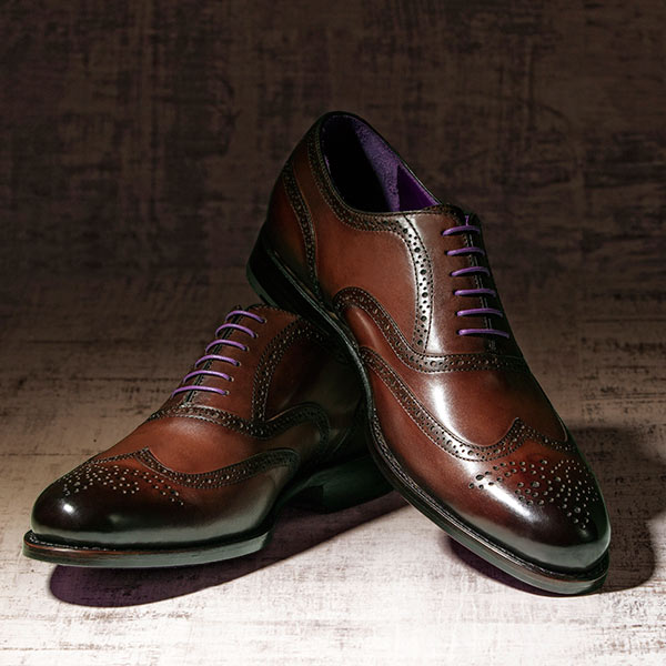 Burnished Dark Brown Italian Leather Goodyear Welted Brogue - Vickers 3