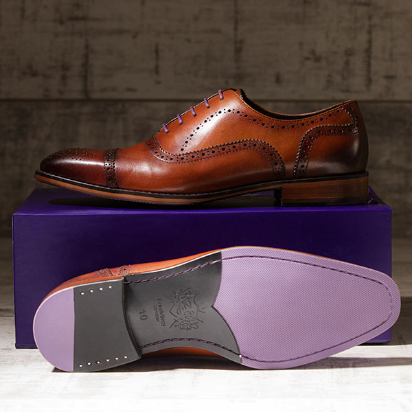 Rich, medium tan burnished Italian Leather Brogue - Balliol 4