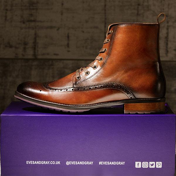Burnished Tan Italian Leather Brogue Boot - Stearman 2