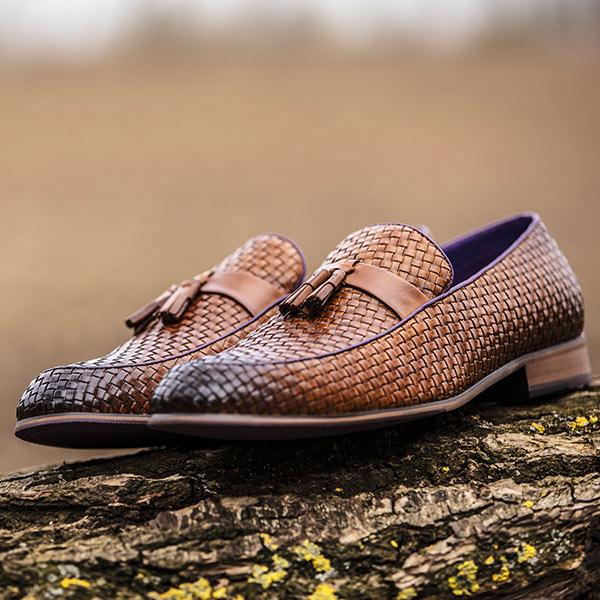 Basket-weave Burnished Tan Leather Slip-on - Bancroft