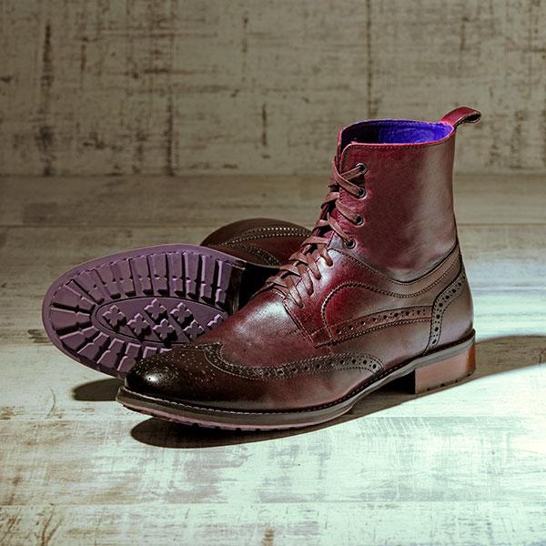 Burnished OxBlood Italian Leather Brogue Boot - Bearcat 2