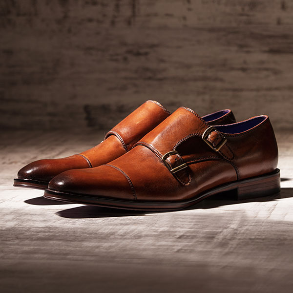 Tan leather monkstrap with burnished toecap - Batwing 2