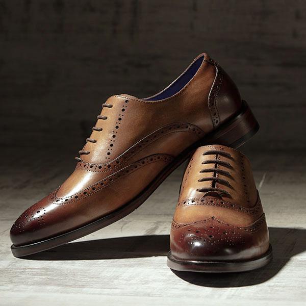 Fine Italian leather Brogue in burnished Tobacco - Lincoln 2