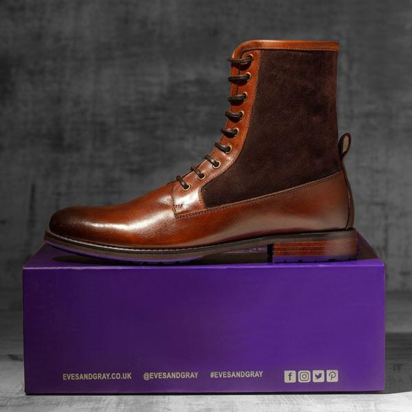 Dark Tan Italian Leather Ankle Boot - Maxamillion Dark Tan 1