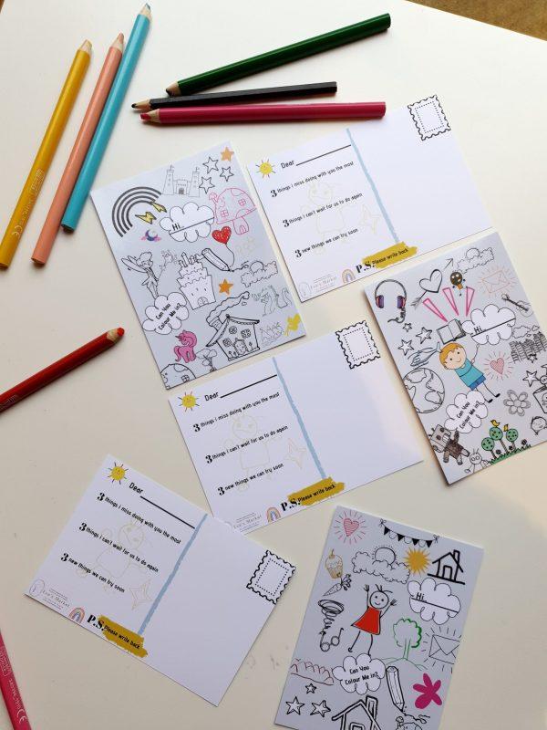 Kids colouring activity postcard for lockdown homeschool activity