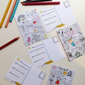 Kids colouring activity postcard for lockdown homeschool activity