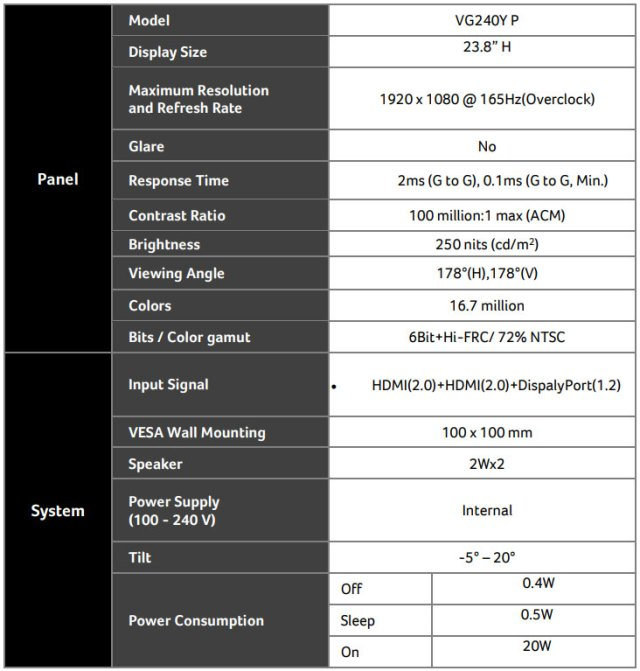 """Acer ED270RP 27"""" 165Hz Gaming Monitor"""