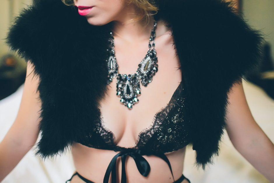 Statement jewelry and lingerie