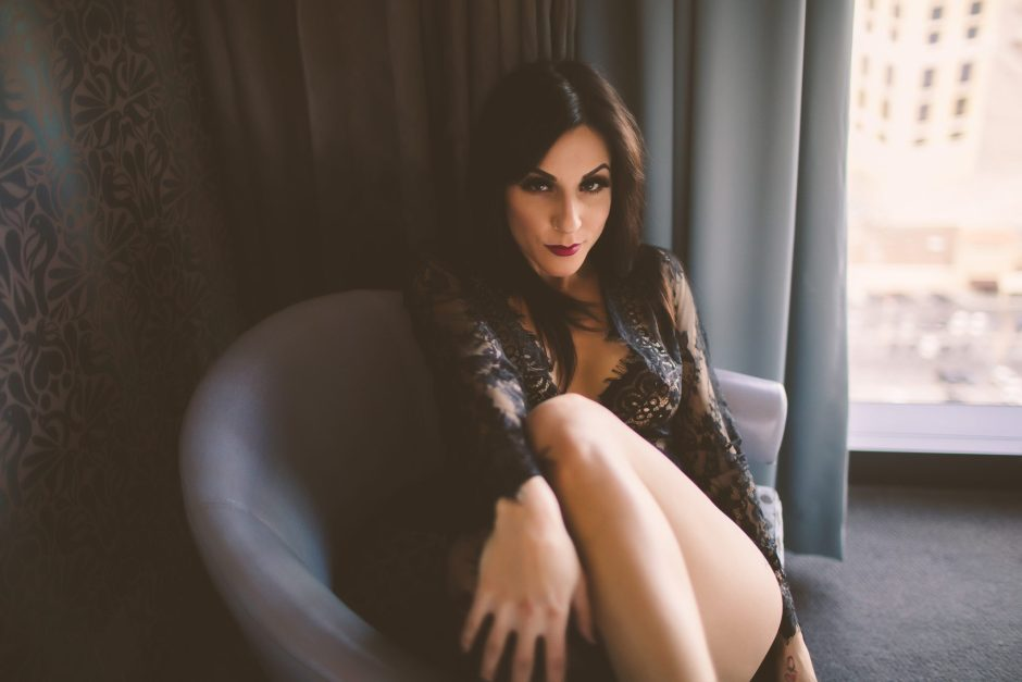 Taking boudoir photos for an anniversary gift