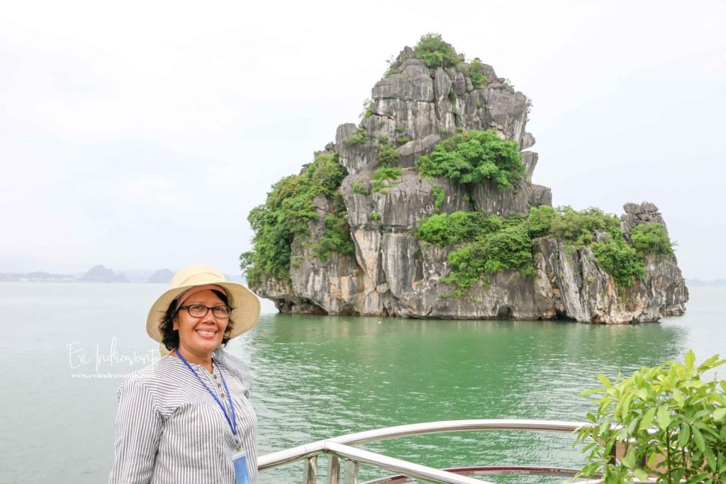 Salah satu pulau batu karang Teluk Ha Long