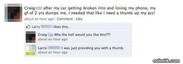 Facebook... Thumb up...