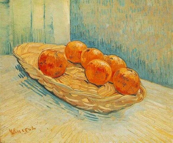 Натюрморт_ Корзинка и Шесть Апельсинов Арль, март 1888 года, Ван Гог(1853-1890)