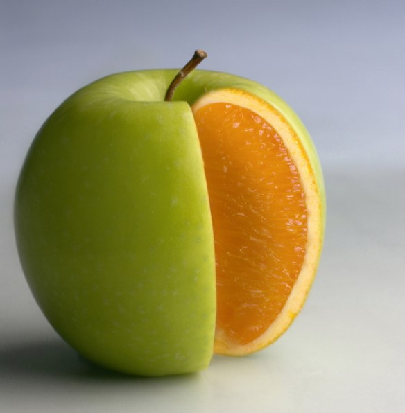 apple with orange content