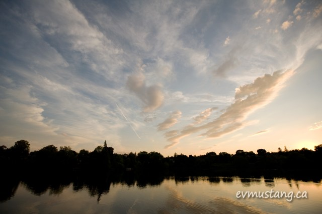 image of sunset over the Otonabee river in Peterborough