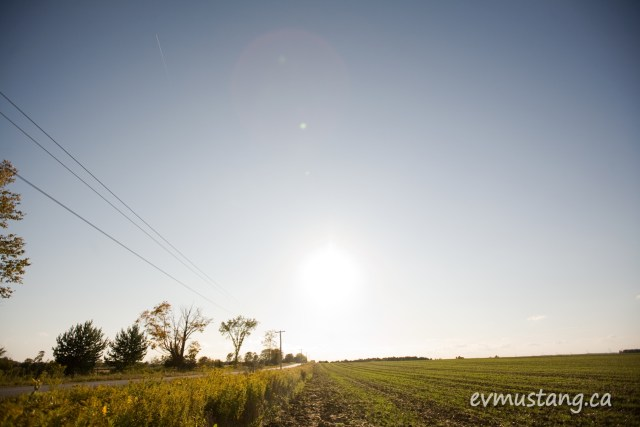 image of field in sun with vapour trail