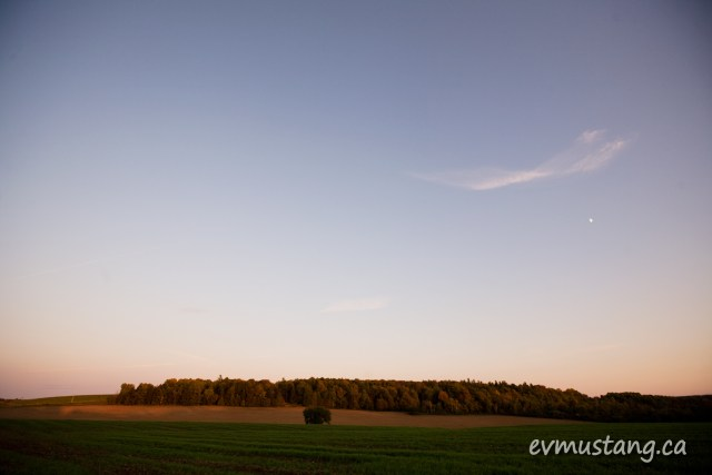 image of autumn landscape with helf moon