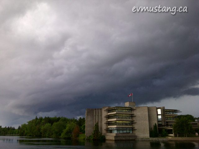 image of Trent University under a stormy sky