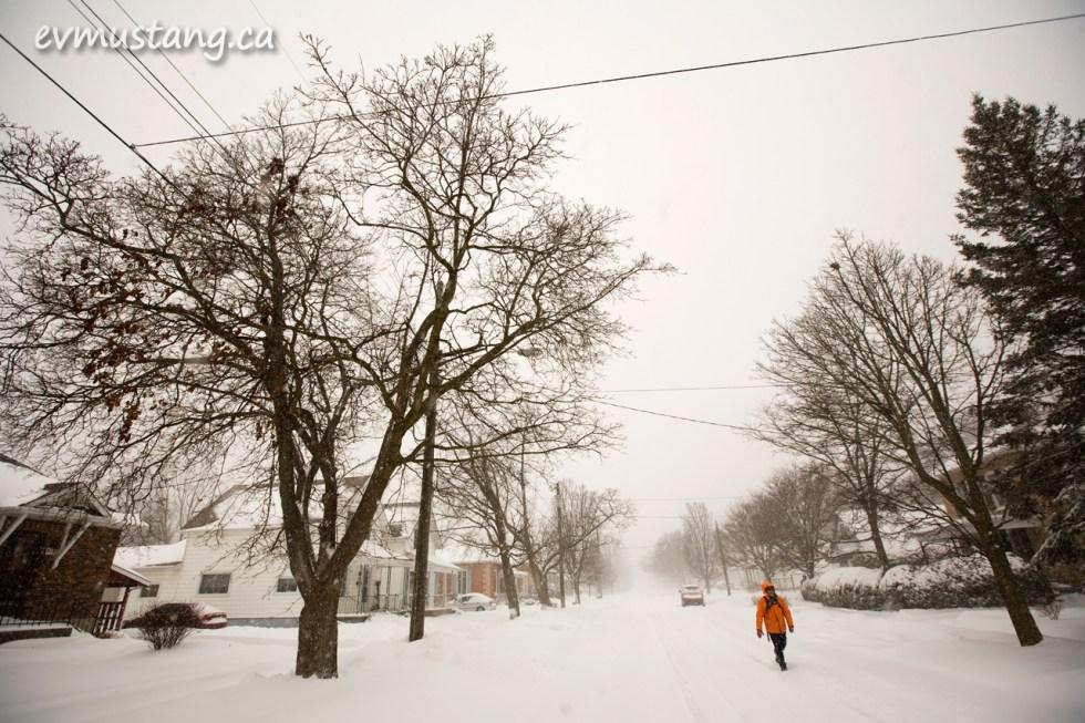 image of pedestrian on snowy street