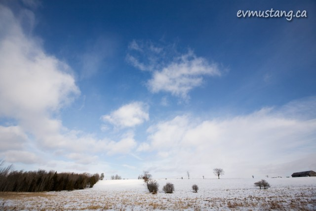 image of cold country hillside under snow