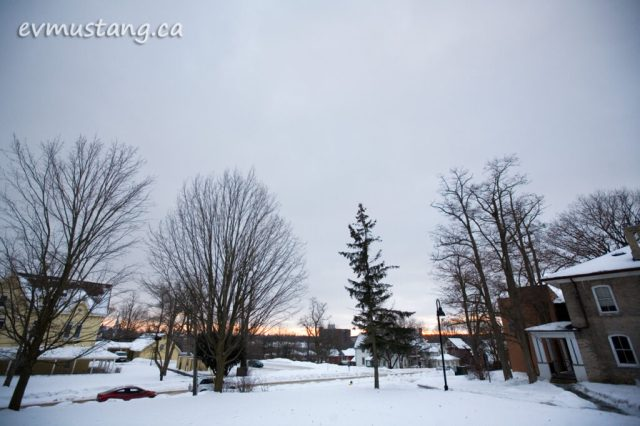 image of sunset in winter from london street, peterborough