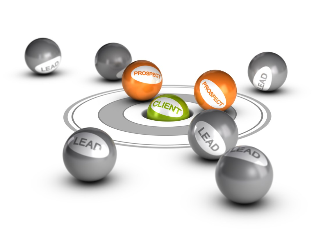 balls labeled as leads, prospects and clients