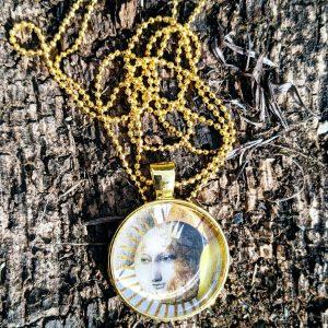 evol bijoux sautoir doré rond madame soleil