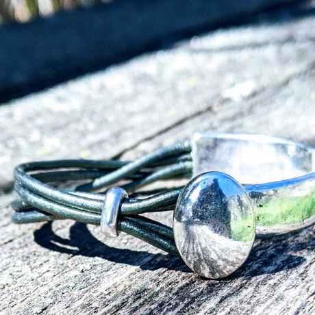 demi jonc ovale vert kaki irisé evol bijoux (2)