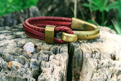 bracelet demi jonc bronze fruit du cerisier bordeaux evolbijoux (2)