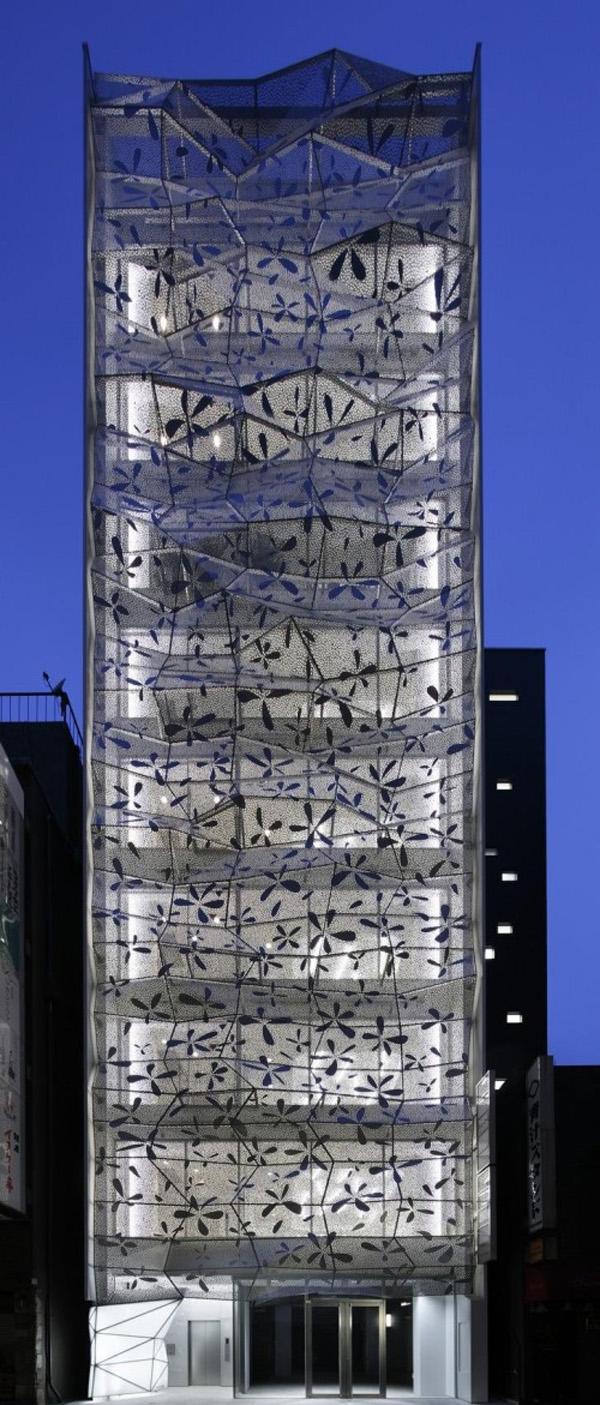 Ginza, Tokio, japón, fachada acristalada, diseño amano, fachada de doble piel, aluminio, torre, diseño paramétrico, computación