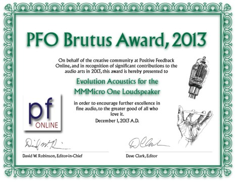 Positive Feedback 2013 Brutus Award - Evolution Acoustics MMMicroOne