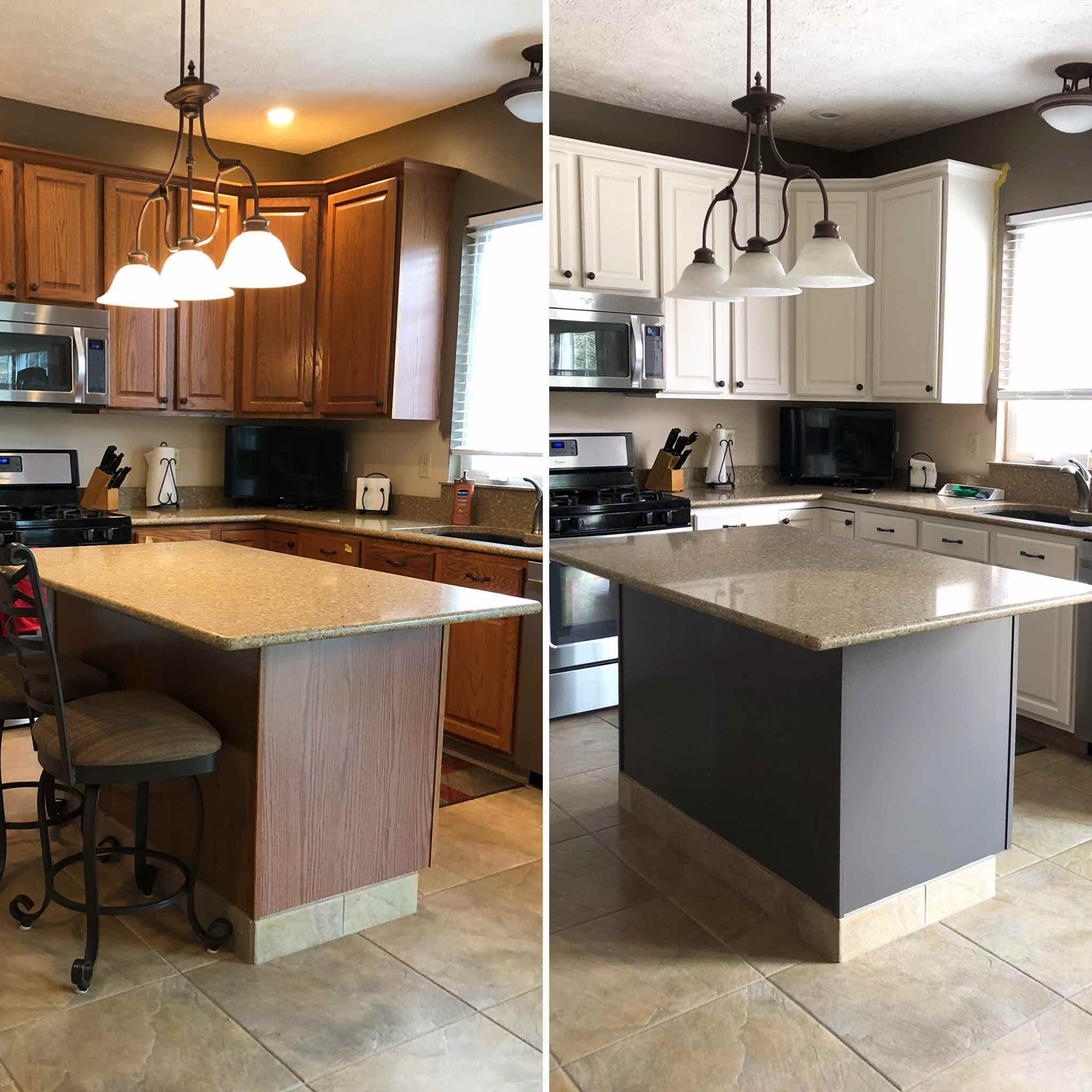 How To Paint Oak Cabinets. Oak Kitchen Before And After Makeover