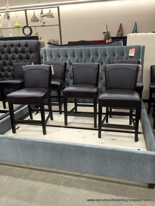 Arhaus Outlet tufted headboard and bar stools