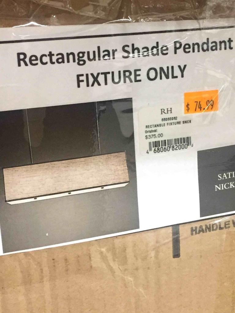 Restoration Hardware Rectangular Shade Chandelier