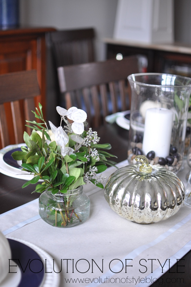 Navy Dining Room Table Setting
