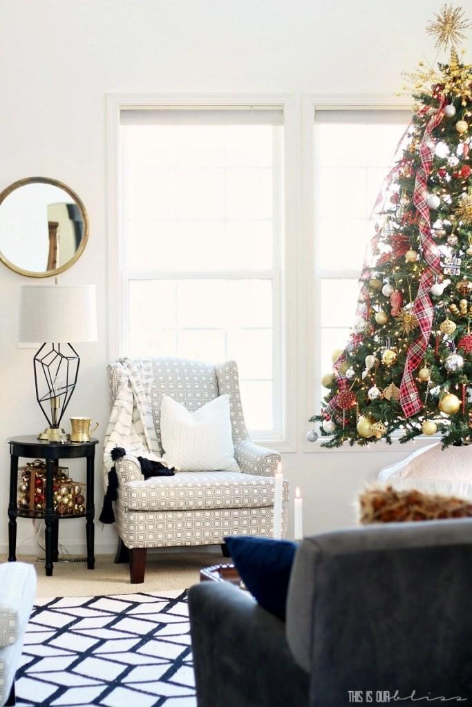 Plaid Christmas Living Room