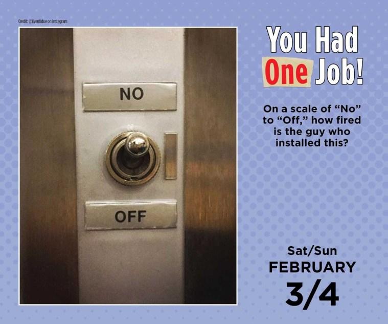 You had One Job Calendar Page