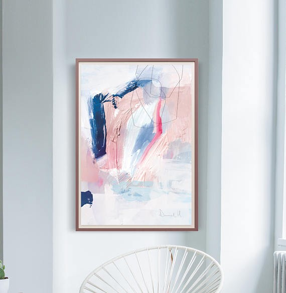 Abstract Art in Blush and Navy