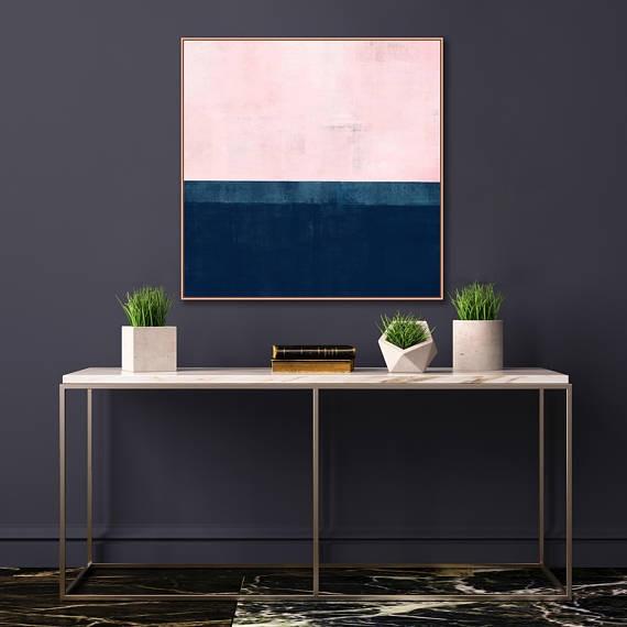 Navy and blush abstract artwork