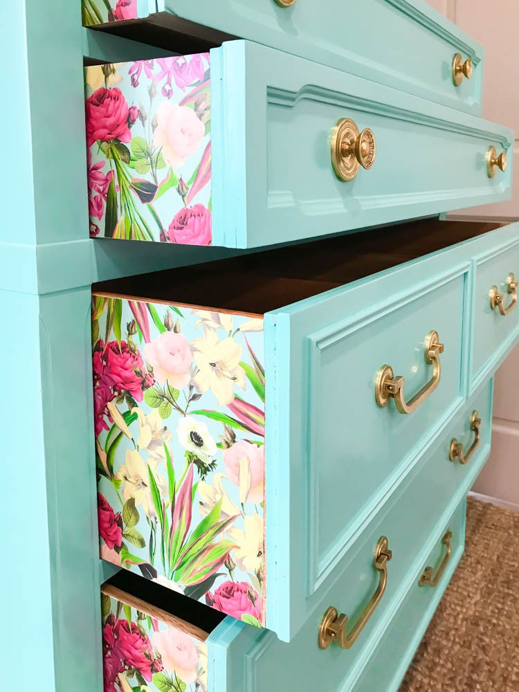 Dresser with papered drawers