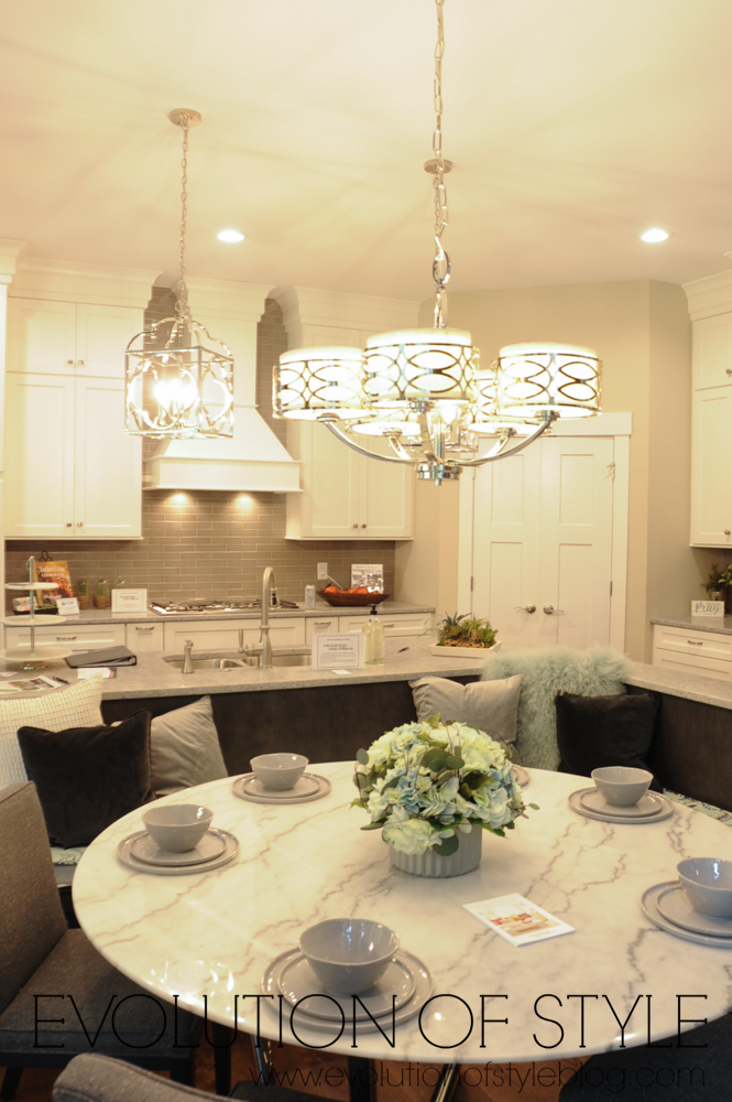 White kitchen with built-in eating area