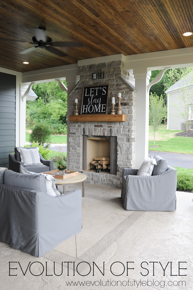 Front porch with stone fireplace