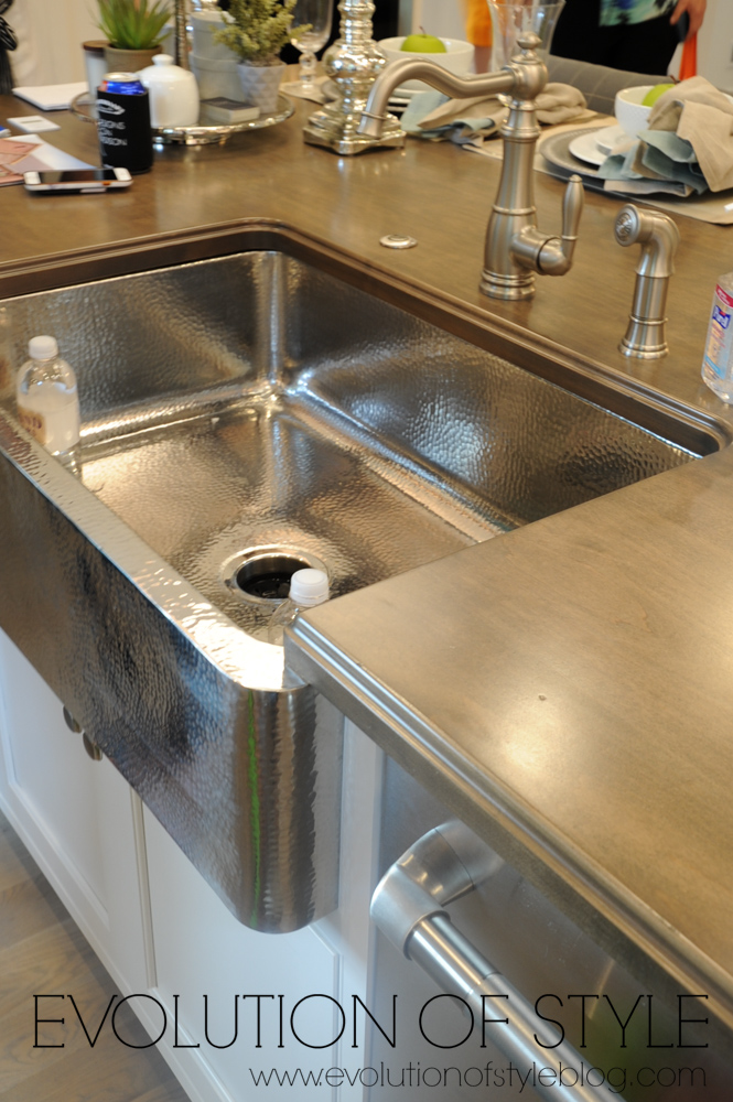 Hammered farmhouse sink