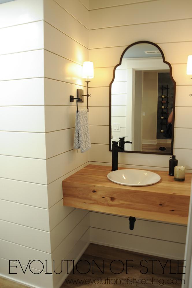Shiplap bathroom wall
